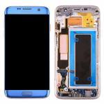 Pantalla Completa Reparada LCD Y Táctil Con Marco para Samsung Galaxy S7 Edge G935f - Azul Cambiado Cristal
