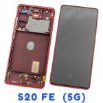 Pantalla Completa LCD Y Táctil Original Con Marco para Samsung Galaxy S20 FE (5G) 2020 G781B – Rojo